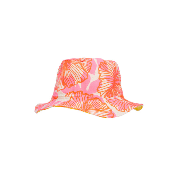 Bucket Hat • Neon Coral Seaflower Over Pink with Yellow Palaka • Matt Bruening Label + Jana Lam