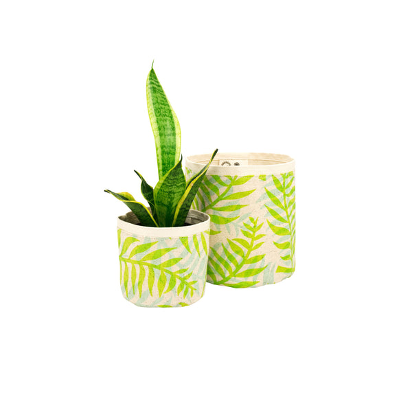 Fabric Plant Holder • Green Double Palm • Sax + Jana Lam