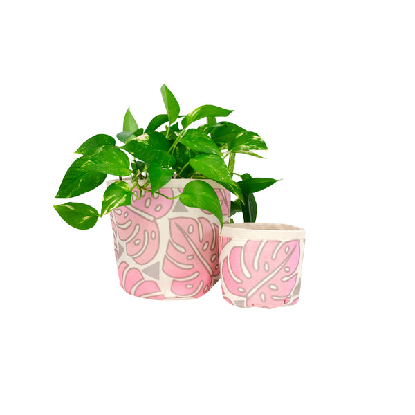 Fabric Plant Holder • Pink Monstera • Sax + Jana Lam