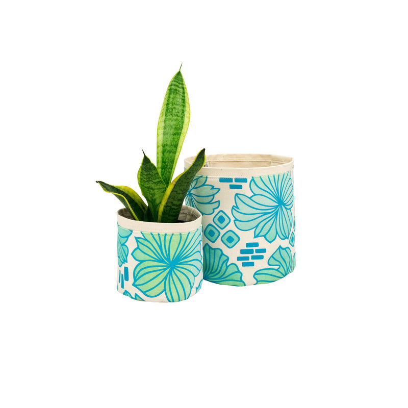 Fabric Plant Holder • Blue and Green Retro Blooms • Sax + Jana Lam