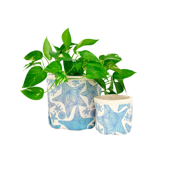 Fabric Plant Holder • Blue Starfish • Sax + Jana Lam