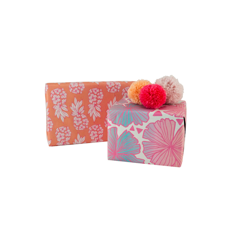 Pineapple Blush & Seaflower Eco Wrapping Paper • Wrappily + Jana Lam