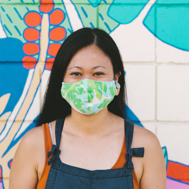 Face Mask • Fitted with Adjustable Elastic • Blue and Sky Blue Seaflower