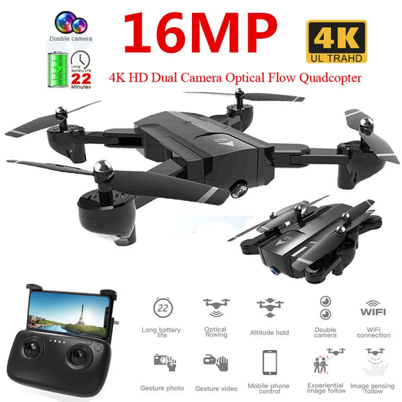 Profissional  4K / 720P HD Dual Camera WiFi FPV Drone Optical Flow Aerial Video RC Quadcopter Aircraft Quadrocopter Toys