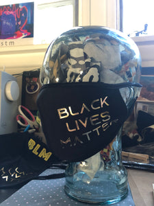 BLM Gold Lettering - Black Double Layered  Face Mask