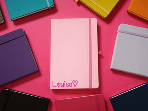 Personalised Name and Heart A5 Soft Touch Notebook