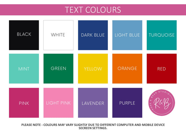 Soft Touch Notebook Text Colours