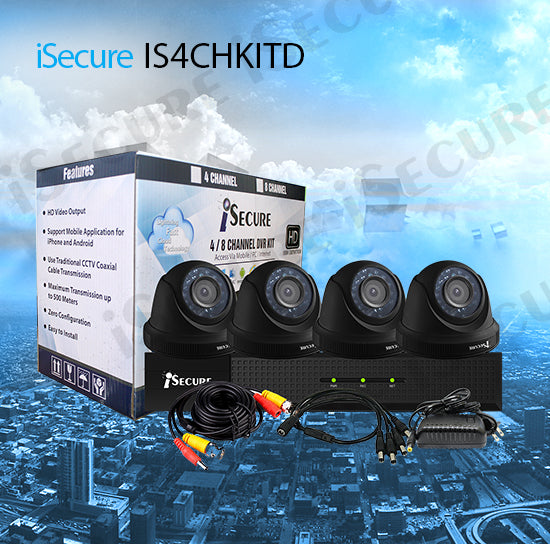 iSecure IS4CHKITD HD 1080P 4CH Cloud HD DVR 4 Indoor
