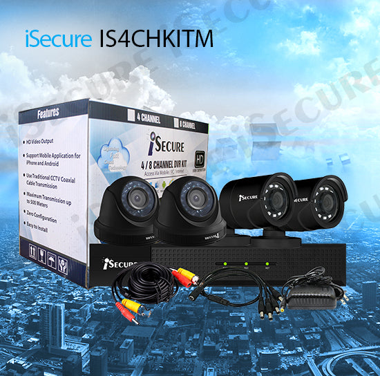 iSecure IS4CHKITM HD 1080P 4CH Cloud HD DVR  CCTV Kit