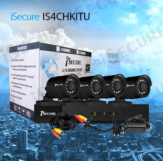 iSecure IS4CHKITU HD 1080P 4CH Cloud HD DVR  4 Outdoor CCTV Kit