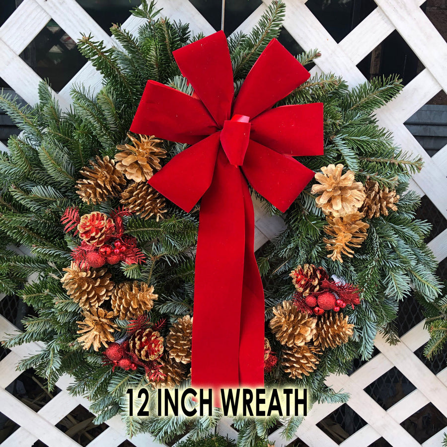 FRASER FIR WREATH DECORATED 8 INCH TO 48 INCH