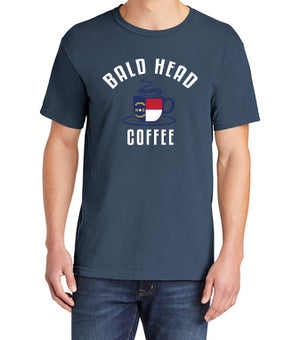 Blue Bald Head Coffee T -shirt