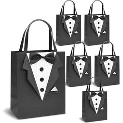 Tuxedo Bachelor Party Gift Bags with Handles for Weddings (8 x 10 In, 6 Pack)