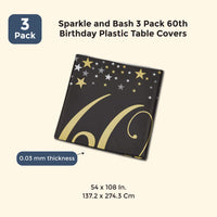 3 Pack 60th Birthday Plastic Table Covers 54 x 108 Inches
