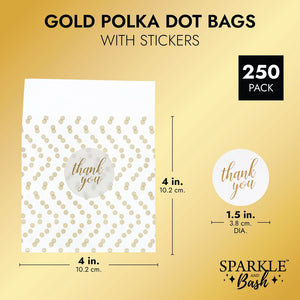 Cellophane Cookie Bags with Thank You Stickers, Gold Polka Dots (4x4 In, 250 Pack)