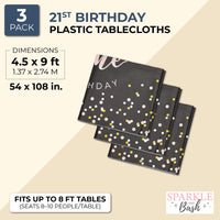 3 Pack 21st Birthday Party Tablecloth Table Cover for Women, 54 x 108""
