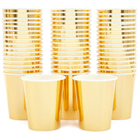 Gold Foil Party Paper Cups (9oz, 50 Pack)