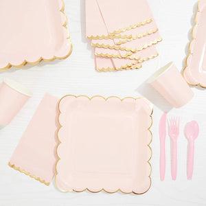 50PCS Pink and Gold Paper Dinner Napkins Disposable for Wedding, 4.4 x 7.8""