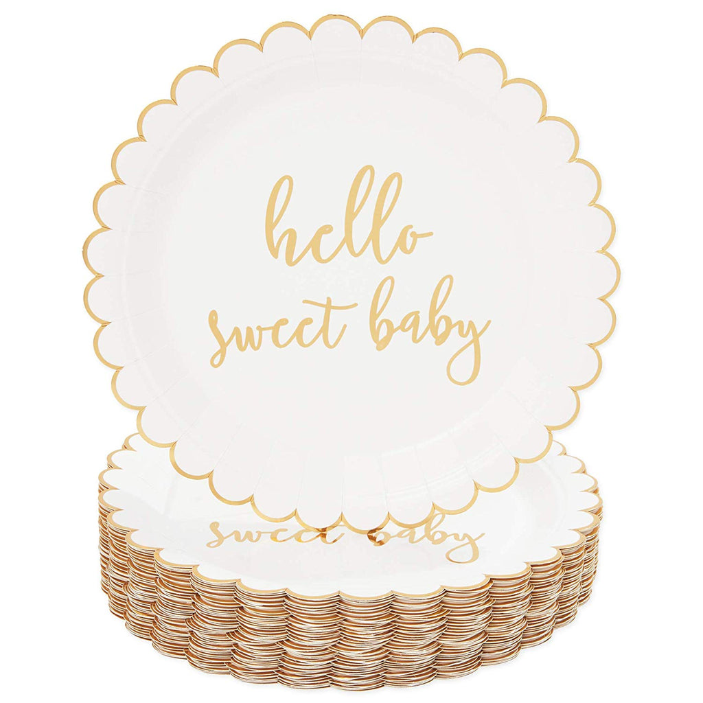 Hello Sweet Baby Disposable Paper Plates for Baby Shower (9 in, 48 Pack)