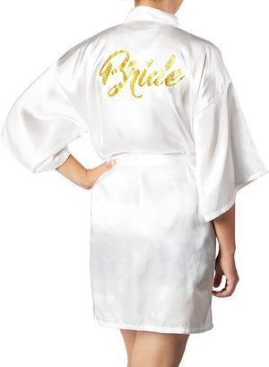 Sparkle and Bash White Satin Kimono Robes for Bride, Bachelorette Party Gifts (XL)