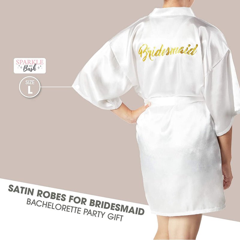 Sparkle and Bash White Satin Kimono Robes for Bridesmaid, Bachelorette Party Gifts (XL)