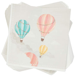 Hot Air Balloon Paper Napkins for Baby Shower Party (6.5 x 6.5 In, 100 Pack)