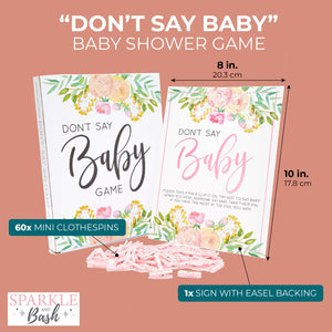 61x DON'T SAY BABY Game w/ Clothespins for Girls Baby Shower Pink Floral 8 x 10""