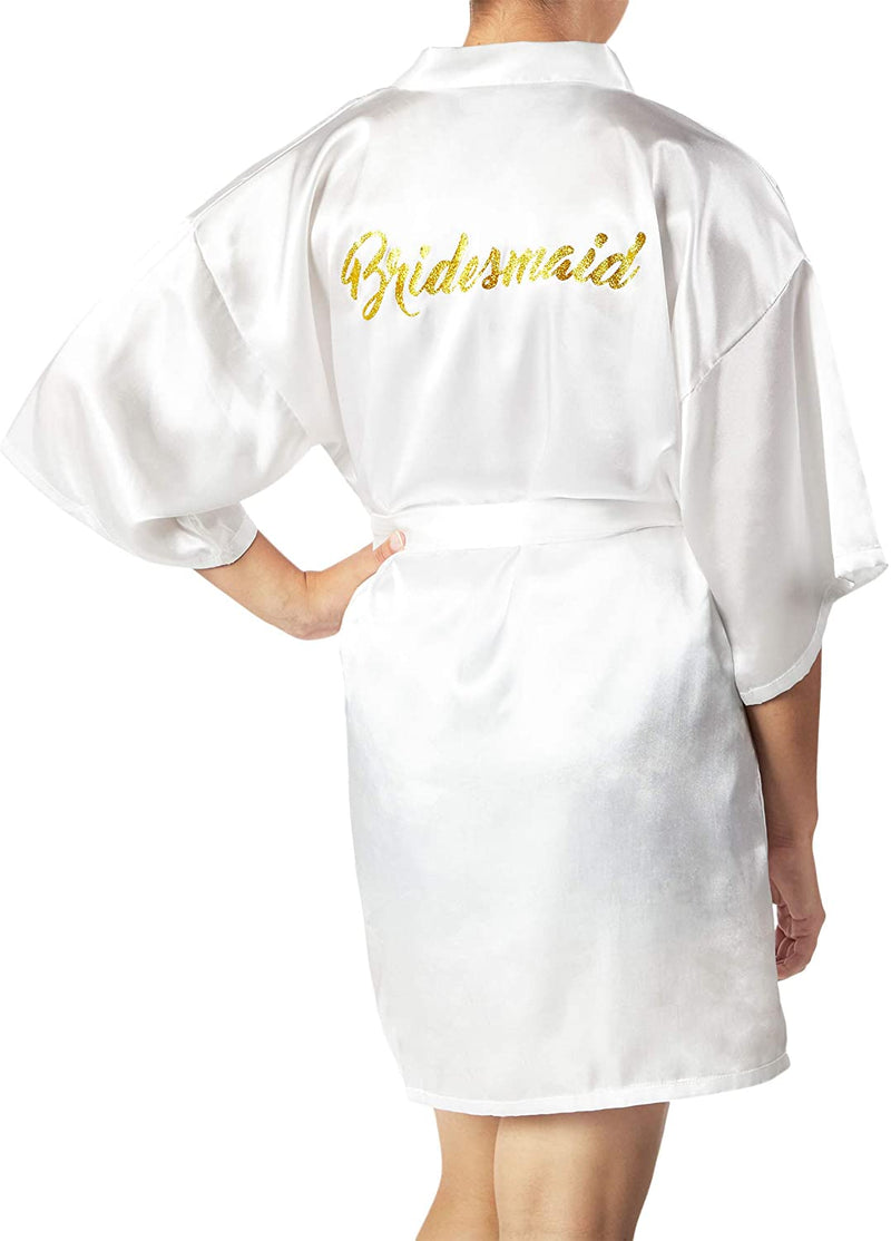 Sparkle and Bash White Satin Kimono Robes for Bridesmaid, Bachelorette Party Gifts (Large)