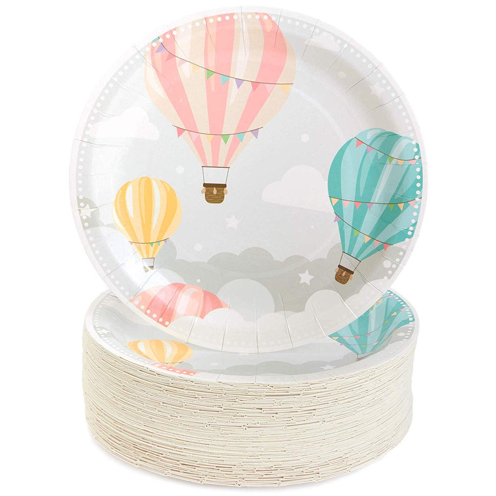Baby Hot Air Balloon Plates for Baby Shower (9 in, 80 Pack)