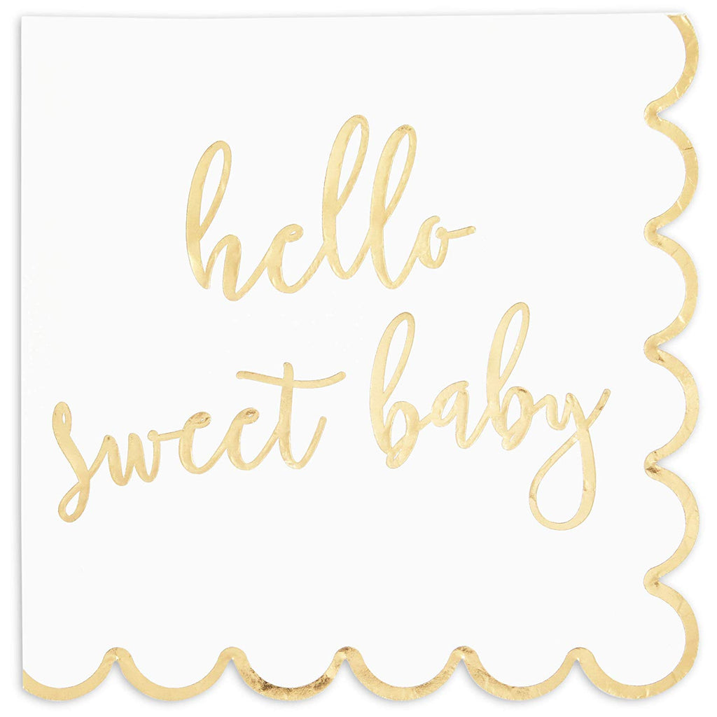 HELLO SWEET BABY Scalloped Dinner Napkins for Baby Showers (6.3 in, 3 ply, Gold Foil, 50 Pack)