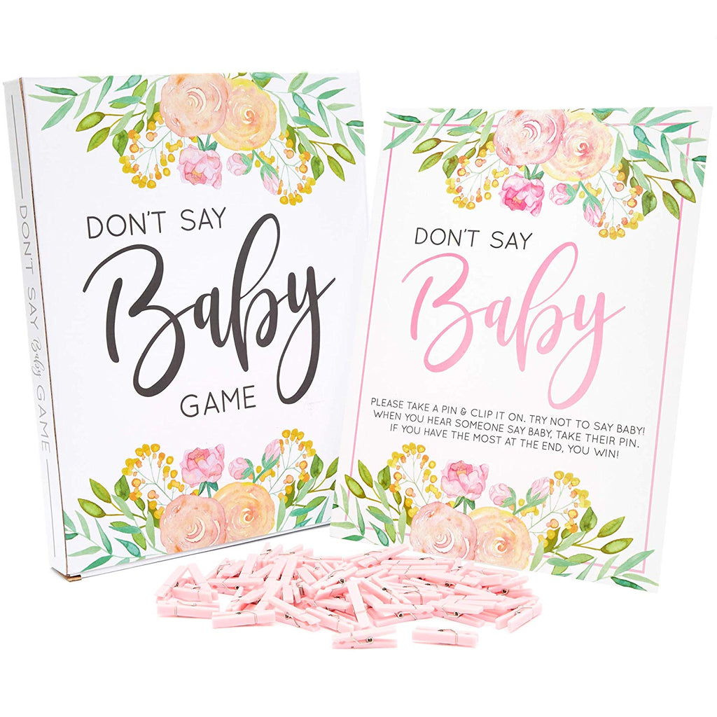 DON'T SAY BABY Game for Girls Baby Shower (8 x 10 in, Pink Floral, 61 Pieces)