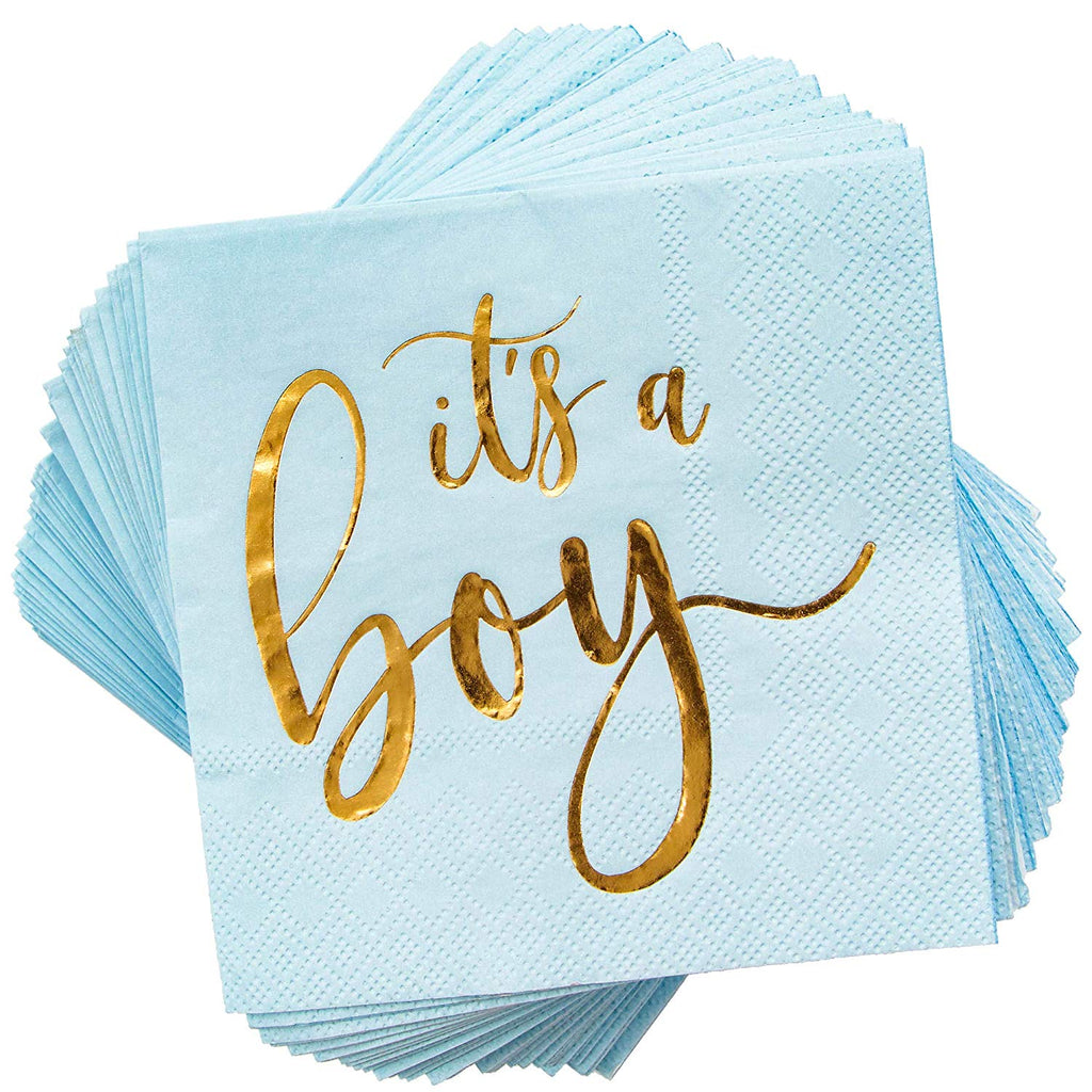 It's a Boy Baby Shower Cocktail Napkins (Blue, 5 x 5 in, 50 Pack)