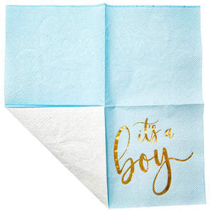 Sparkle and Bash It's a Boy Baby Shower Cocktail Napkins (Blue, 5 x 5 in, 50 Pack)
