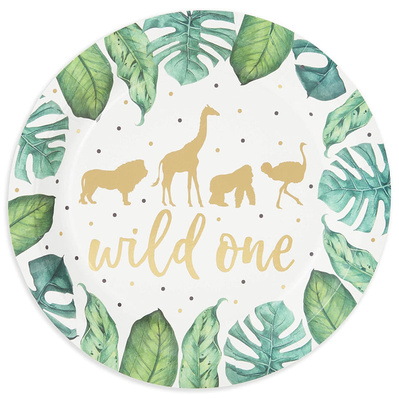 Wild One Paper Plates for Safari Party (9 Inches, 48 Pack)