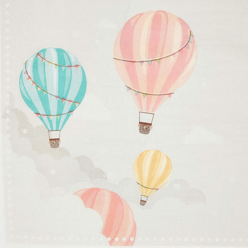 Baby Shower Paper Napkins, Hot Air Balloon, 100 Pack, 6.5 in