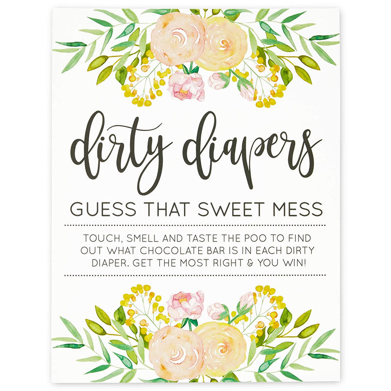 Dirty Diapers Game for Baby Showers (60 Pack)