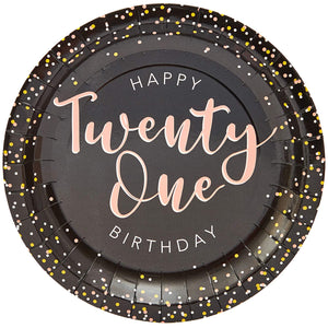21st Birthday Paper Plates (Pack of 80, 7in)