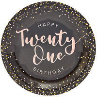 "80Pcs Twenty One 21st Birthday Party Disposable Paper Plates 9"" for Lunch Dinner"