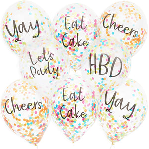 Confetti Birthday Party Balloons (12 in, 30 Pack)