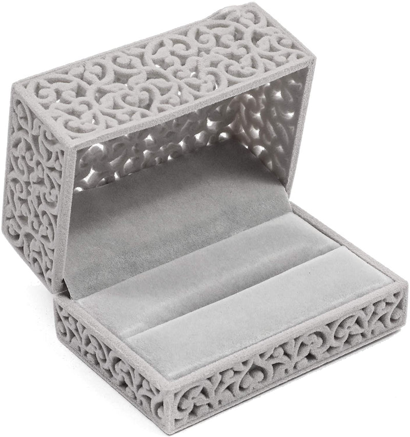 Velvet Double Ring Box, Grey Jewelry Gift Box (3.3 x 2.3 x 1.8 Inches)