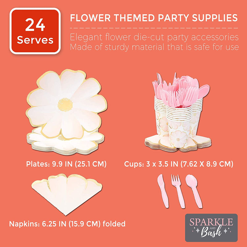 Flower Party Supplies for Birthdays and Celebrations (Serves 24)