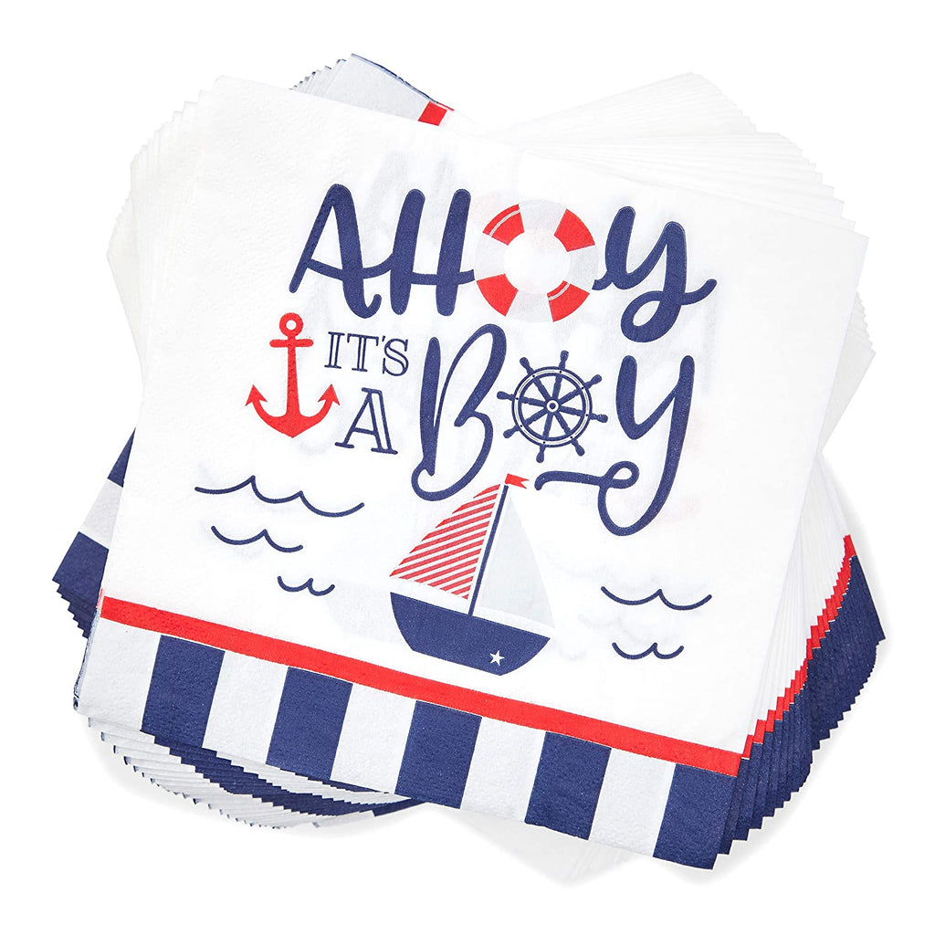 Baby Shower Supplies, Nautical Party Disposable Napkins (6.5 in., 100 Pack)