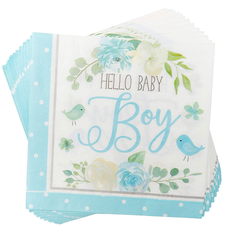 Serves 24 Hello Baby Boy Baby Shower Party Decorations for Kids Boys Girls