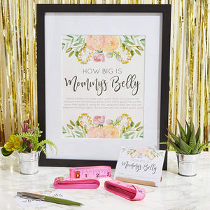 24 Sparkle and Bash Guess Mommy's Belly Tummy Size Floral Baby Shower Game Set