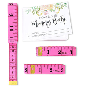 Sparkle and Bash Guess Mommy's Belly Tummy Size Floral Baby Shower Game Set (24 Guests)