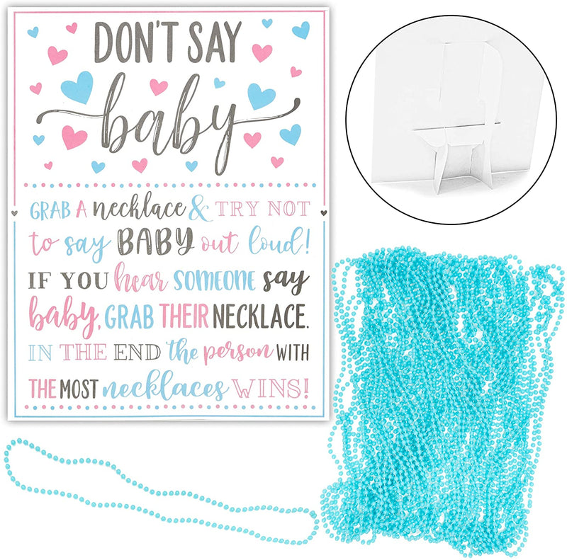 Baby Shower Games, Don't Say Baby (Blue, 37 Pieces)
