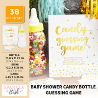 Candy Bottle Guessing Game for Baby Showers (Gold, 38 Pieces)