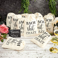 Bach Shit Crazy Drawstring Bags for Bachelor and Bachelorette Party (6 x 8 in, 12 Pack)