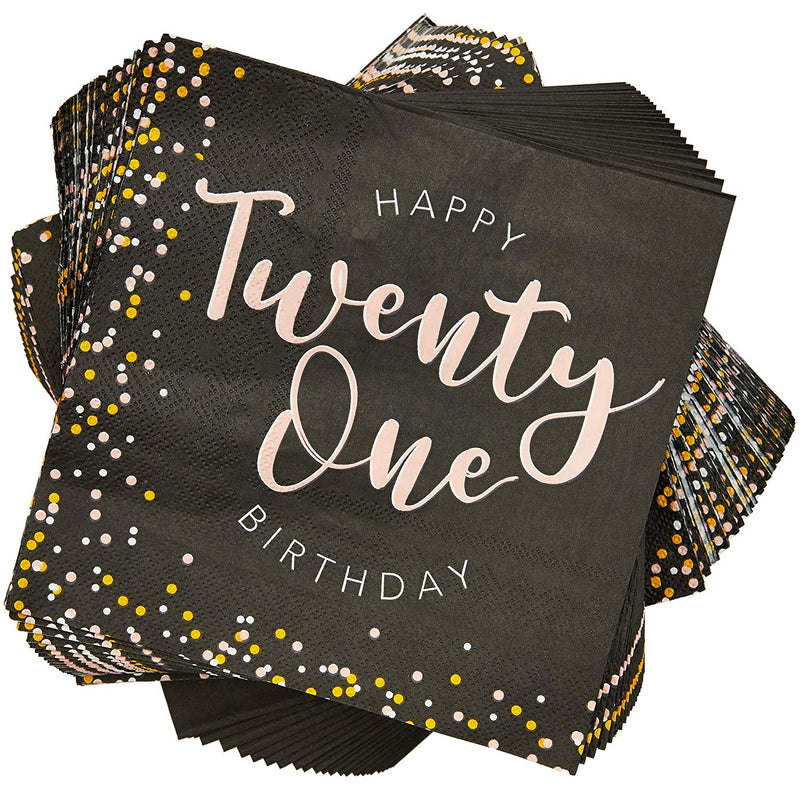 21st Birthday Paper Napkins (6.5 in, 100 Pack)