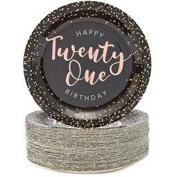 Black Confetti Paper Plates for 21st Birthday Party (9 In, 80 Pack)